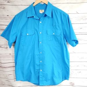 Haband snap button up bright blue vtg